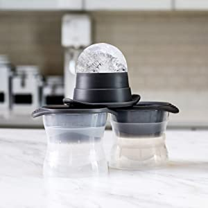 Tovolo Sphere Ice Molds with Tight Silicone Seal, Leak- Free, Slow Melting, Stacking/Stack-able 2.5 Inch Sphere - Set of 2, Perfect for Cocktails, Mocktails & All Beverages, BPA Free, Dishwasher Safe (Color: Clear, Tamaño: One Size)