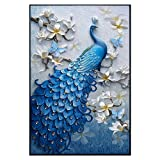 AUCHEN Lucky bird DIY Crystals Paint Kit 5D Diamond Painting By Number Kits,Peacock and flower Size:19×28inch (Color: Blue, Tamaño: 19