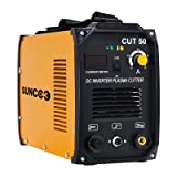 Plasma Cutter Cut50 Electric DC Inverter Portable High Frequency Metal Plasma Cutting Machine with LED Digital Display 50 Amp Dual Voltage 110/220V with Accessories, 1/2 Inch Clean Cut Yellow