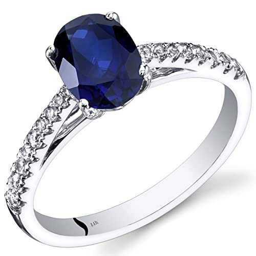 Revoni 14ct White Gold Created Sapphire Ring Oval Cut 1.50 Carats