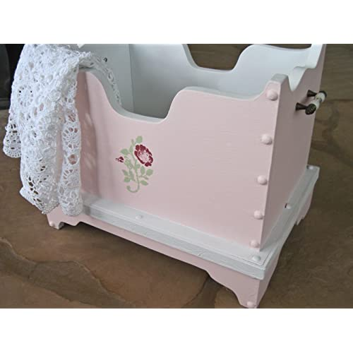 Wooden Childrens Open Toy Box Hand Painted in Pink and White with Roses Nursery Decor