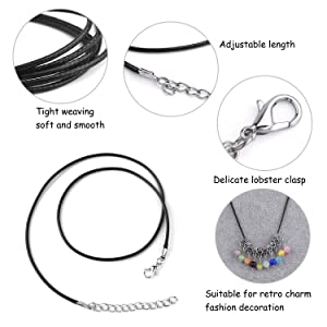 TUPARKA 60 Pcs Waxed Necklace Cord Black Necklace String with 2mm Clasp Bulk for Necklace Bracelet Jewelry Making Accessories (Color: Black)