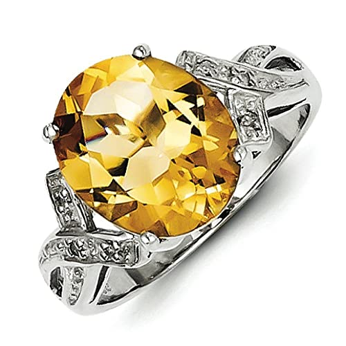 Sterling Silver Rhodium Citrine and Rough Diamond Ring - Ring Size Options Range: L to P