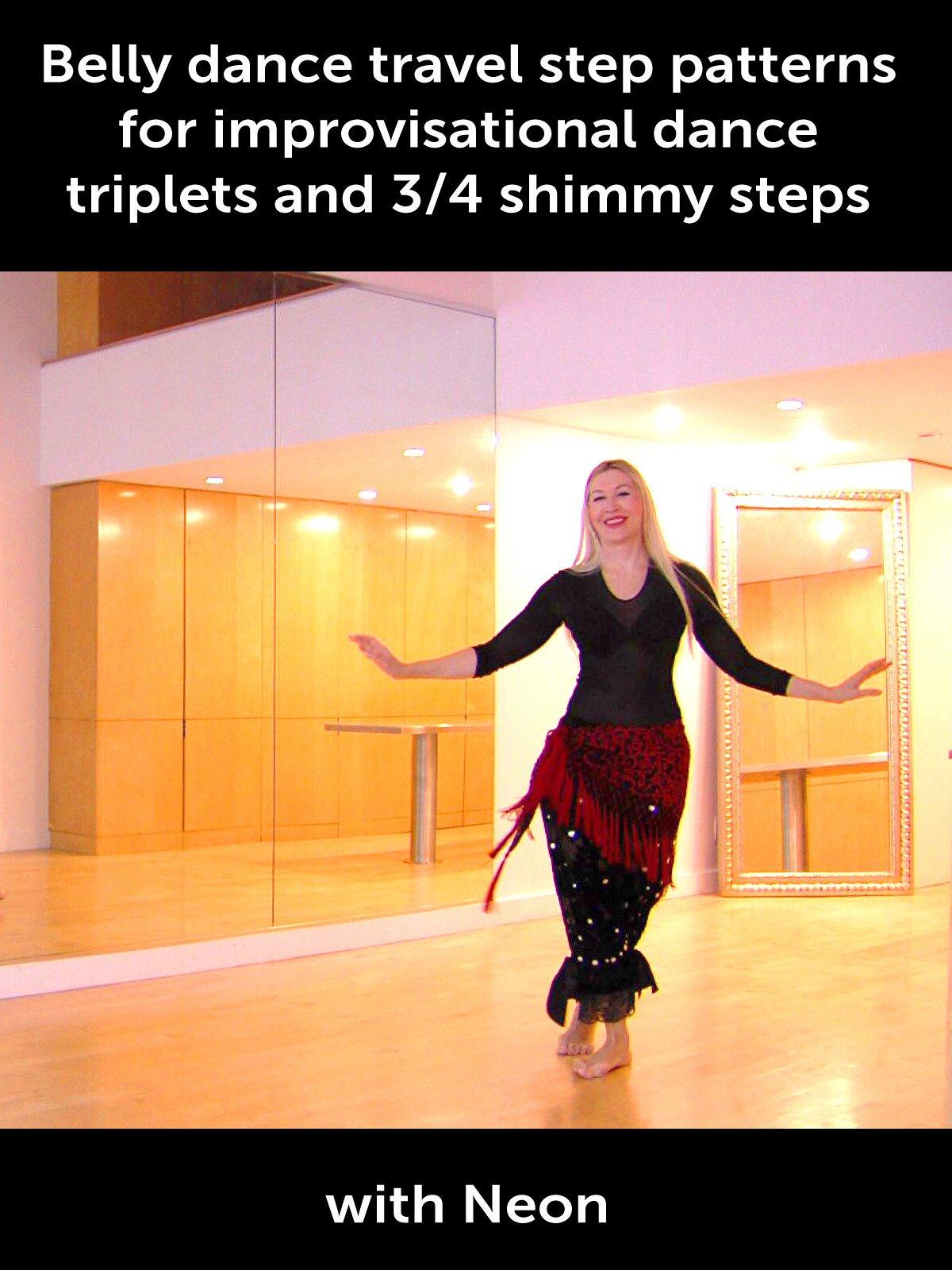 Belly dance travel step patterns for improvisational dance