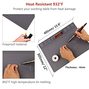 Anti-Static Mat ESD Safe for Electronic, HPFIX Silicone Soldering Repair Mat 932°F Heat Resistant for iPhone iPad iMac, Laptop, Computer, 15.9 x 12Grey (Contain ESD Wristband and Grounding Wire) (Color: Grey)