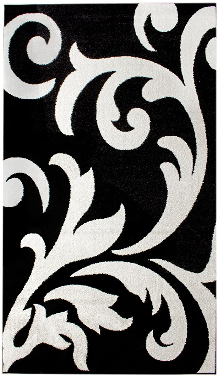 Super Area Rugs Metro Black Damask Rug 5 Feet By 8 Feet