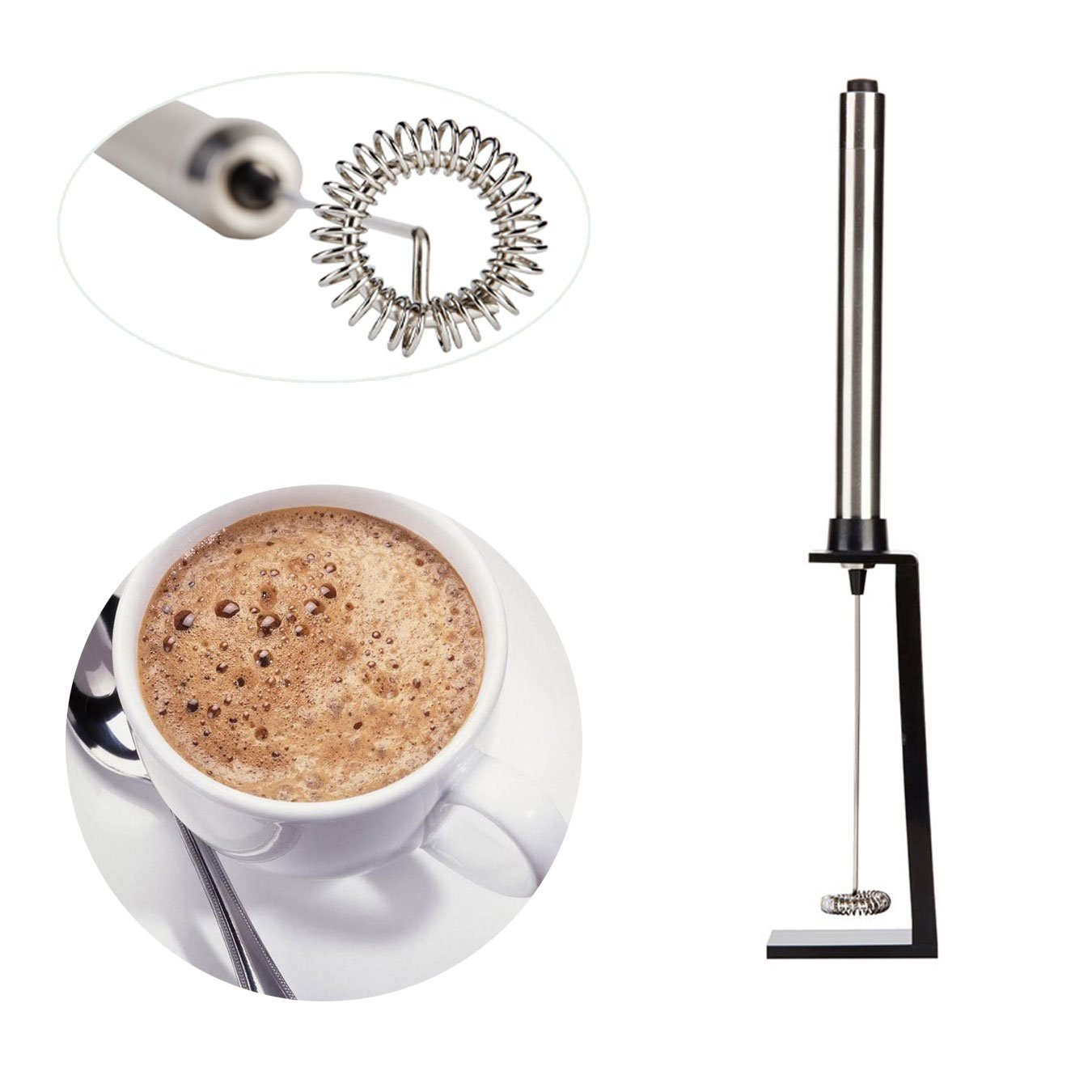Bedrocker® High Quality Handheld Electric Stainless Steel Milk Frother-Best Hand Held Milk Foamer Wand with the Free Bonus Mounting Bracket
