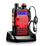 Two Way Radio 8 Watt 2800mAh Rechargeable Large Battery FCC Dual Band VHF 136-174MHz and UHF 400-520MHz Long Range Water Resistant 128 Channels Walkie Talkie with Earpiece Full Kit (Upgraded 2800mAh) (Color: Red)