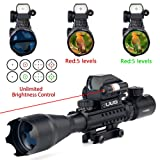 UUQ 4-16x50 Tactical Rifle Scope Red/Green Illuminated Range Finder Reticle W/ Integrated Red Laser Holographic Dot Sight (12 Month Guarantee) (Color: 4-16X50 W/ Red Laser)