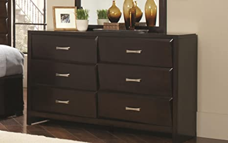 6-Drawer Modern Dresser in Cappuccino Finish