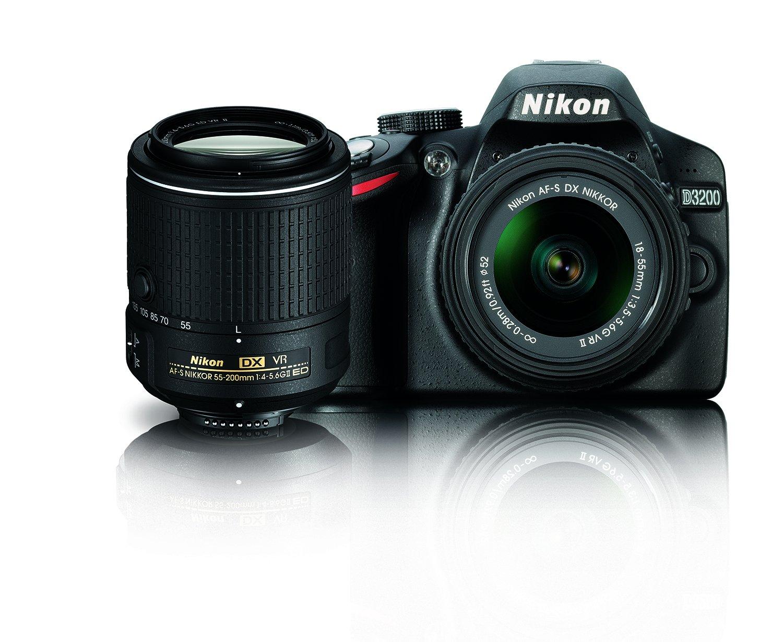 Nikon D3200 24.2 MP CMOS Digital SLR Camera with 18-55mm and 55-200mm VR DX Zoom Lenses Bundle