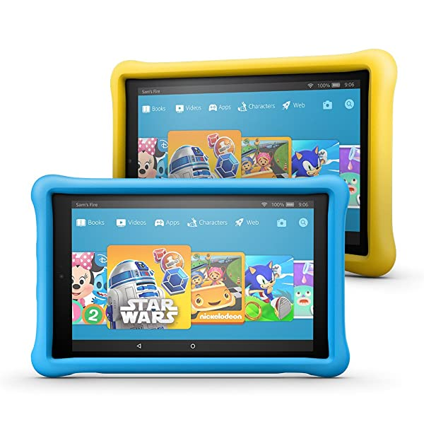 Fire HD 10 Kids Edition Tablet 2-Pack, 10.1 1080p Full HD Display, 32 GB, Blue/Yellow Kid-Proof Case (Color: Blue, Yellow)