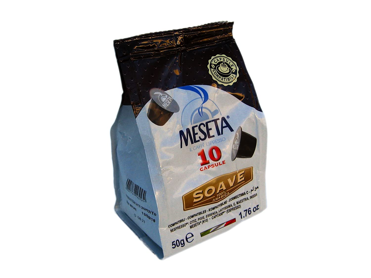 Nespresso Compatible Meseta Coffee Capsules . 80 Capsules of Gourmet 100% Arabica Coffee Espresso Compatible with Nespresso Machine.