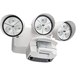 Lithonia Lighting 3 Head LED Floodlight with Light Motion Sensor (White)