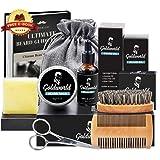 Beard Care & Grooming Kit w/Free Beard Soap,Unscented Beard Oil,Beard Balm,Beard Comb,Beard Brush,Beard Scissors,Storage Bag for Beard Care Growth by GoldWorld (Color: Beard Kit)