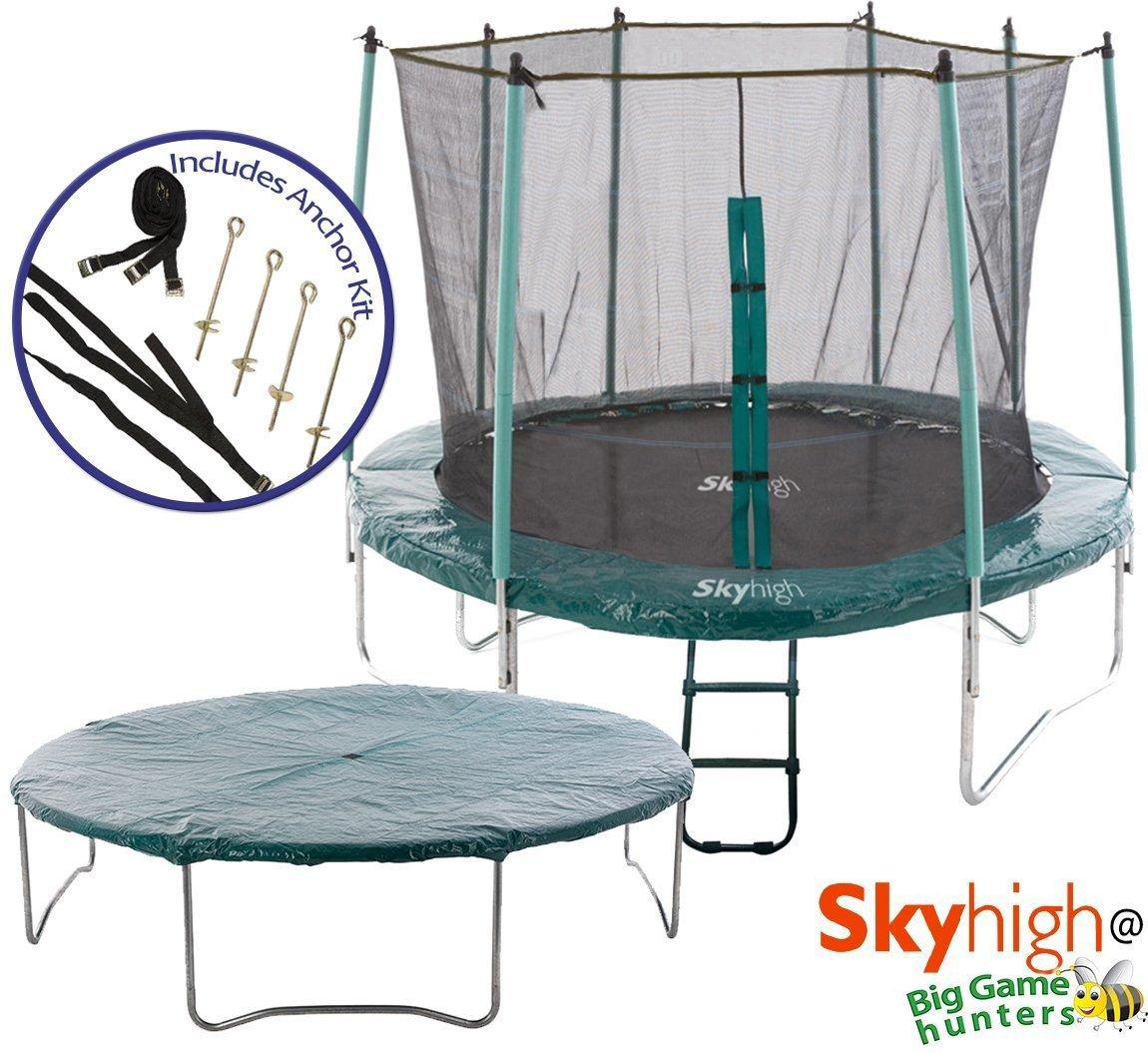 Skyhigh Trampolin mit Sicherheits-Gehäuse, Schutzhülle, Premium-Leiter mit breiter Lauffläche Schritte und Anker-Set bei Böigen Wind günstig kaufen
