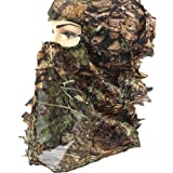 Camouflage Hunting Cap, Camo Hunting Leafy Hat With Full 3D Face Mask Hood Technology