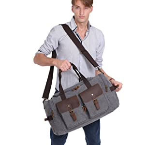 2b2f6f8616 WOWBOX Duffle Bag Weekender Bag for Men and Women Genuine Leather Canvas  Travel Overnight Carry on ...