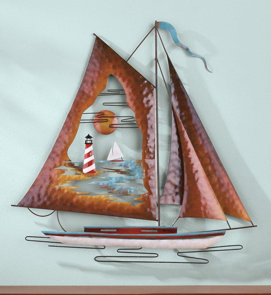 Wood Sailboat Wall Decor : Nautical sailboats metal and wooden wall sculpture