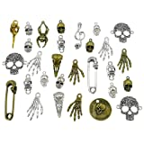 100 Grams Assorted(Color&Style) Skull Skeleton Bone Punk Steampunk Charm Pendant Connector for DIY Necklace Bracelet Jewelry Making Findings (Color: style 3#)