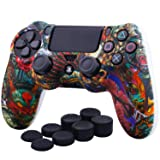 YoRHa Water Transfer Printing Camouflage Silicone Cover Skin Case for Sony PS4/slim/Pro dualshock 4 controller x 1(Beasts) With Pro thumb grips x 8 (Color: beasts, Tamaño: Printing)