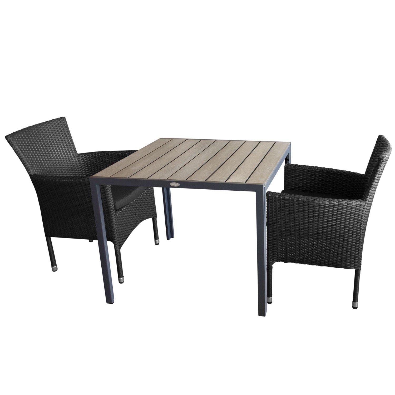 3tlg. Gartengarnitur Gartentisch, Aluminium, Polywood Tischplatte, 90x90cm, 2x Rattansessel, inkl. Sitzkissen, stapelbar, Polyrattanbespannung - Terrassenmöbel Sitzgruppe Stapelstuhl Sitzgarnitur Gartenmöbel Bistromöbel