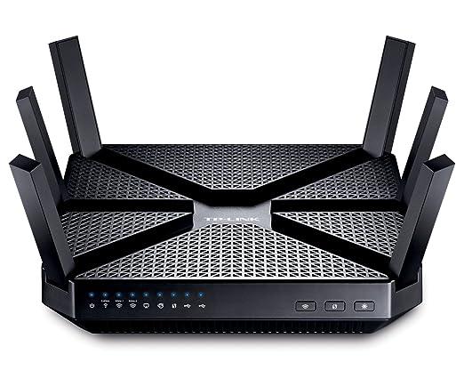 TP-Link Archer C3200 Routeur Gigabit Wi-Fi Tri-bandes AC 3200Mbps (2.4GHz 600Mbps, 2 faisceaux 5GHz 1300Mbps, 5 ports Gigabit, 2 ports USB)