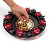 Inverlee 30 x 30CM Drinking Game Roulette Set With 16 Shot Glasses Great Fun for Bar and Party (Black) (Color: Black)