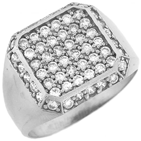 14ct White Gold Mens CZ Square Cluster Ring With Halo