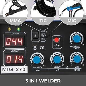 Mophorn MIG Welder 270 Amp MIG TIG Arc Welder 3 in 1 Welder Welding Machine 110V 220V TIG Welder Lift ARC Welder MMA Stick IGBT DC Inverter Welder Digital Display Combo Welding Machine (Tamaño: MIG270)