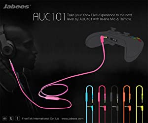 Jabees 3.5mm Aux Audio Cable to Connect Headphones/Headsets with Gaming Devices such as Xbox/P4P, Replacement Audio Cable with Mic and Volume Control for Music and Voice Streaming for Cellphone -Black
