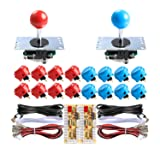 Sanwa 2 Player Orignal Arcade Game DIY Bundle - USB Encoder + 16 x 30mm Push Buttons + 4/8 Way Joystick for Jamma MAME Cabinet & Raspberry Pi RetroPie DIY Projects - Red + Blue Color (Color: Red + Blue)