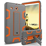 TOPSKY Galaxy Tab E 9.6 Case, [Kickstand Feature] Three Layer Hybrid Heavy Duty Full-Body Shockproof Anti-Slip Protective Case for Samsung Galaxy Tab E 9.6 inch Tablet,Grey/Orange (Color: Grey/Orange)