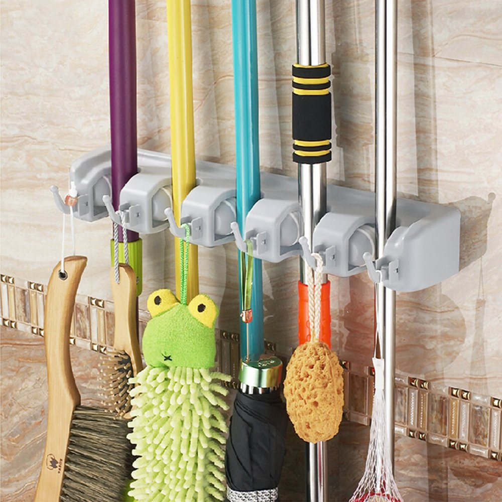 Ohuhu® Mop and Broom Holder / Magic Holder, 5 Positions with 6 Hooks, Compact & Clean Design Wall-mounted Organizer, a Must Have for Every Family