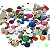 Mixed Sizes & Colors 144 pieces Swarovski 2058/2088 Crystal Flatbacks rhinestones nail art mixed with Sizes ss5, ss7, ss9, ss12, ss16, ss20, ss30 (Color: Mixed Colors)