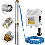 LOVSHARE Deep Well Submersible Pump 1.5 Hp 220V Water Well Pumps 24 Gpm Water Pressure Tanks for Wells 4inch Stainless Steel (Tamaño: 1.5HP - AC 220V - 335ft - 24GPM)