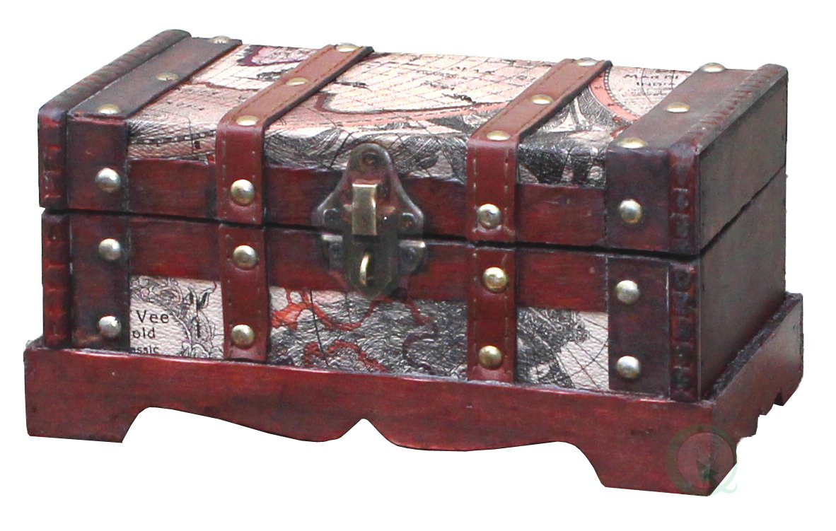 Vintiquewise(TM) Old World Map Wooden Trunk/Box, Set of 2 4