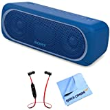 Sony XB30 Portable Wireless Speaker with Bluetooth Blue 2017 model (SRSXB30/BLUE) with Xtreme Fusion Bluetooth Headphones Black/Red & 1 Piece Micro Fiber Cloth (Color: Red)