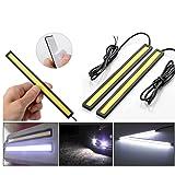 flexzon 2 X 14cm 12V 6W Cob LED Drl Strips Car Fog Daytime Running Driving White Lights (Color: Super Bright White)