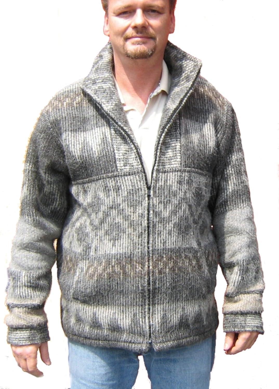 Alpacaandmore Herren Jacke peruanische Alpakawolle Grau Satin Futter