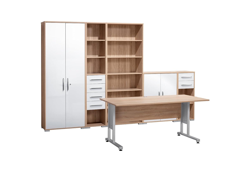 MAJA-Möbel 1200 2556 Büroprogramm SYSTEM, Sonoma-Eiche-Nachbildung - weiß Hochglanz