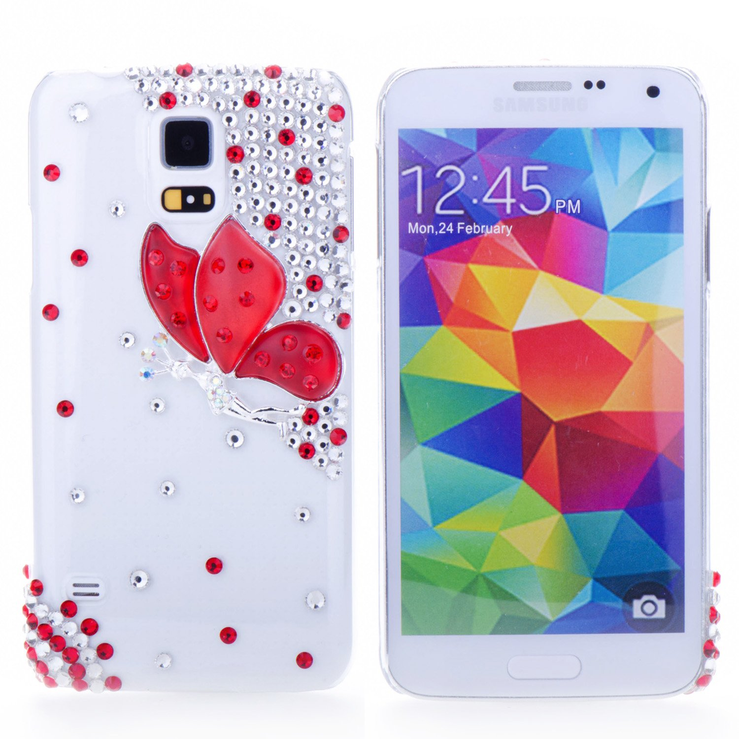 andmade Bling 3D Special Crystal Rhinestone Red Butterfly Hard Case Cover for Samsung Galaxy S5 i9600 Transparent