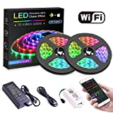 KORJO Dream Color Led Strip Lights with Chasing Effect, 32.8ft 300Leds 5050 APP Controlled Rope Light Kit with Power Supply and WiFi Controller, Waterproof Led Strip Lighting for Home Kitchen Party