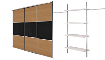 3 x 36'' Oak panel/black glass with Large Aura kit. Up to 2692mm (8ft 10ins) wide.