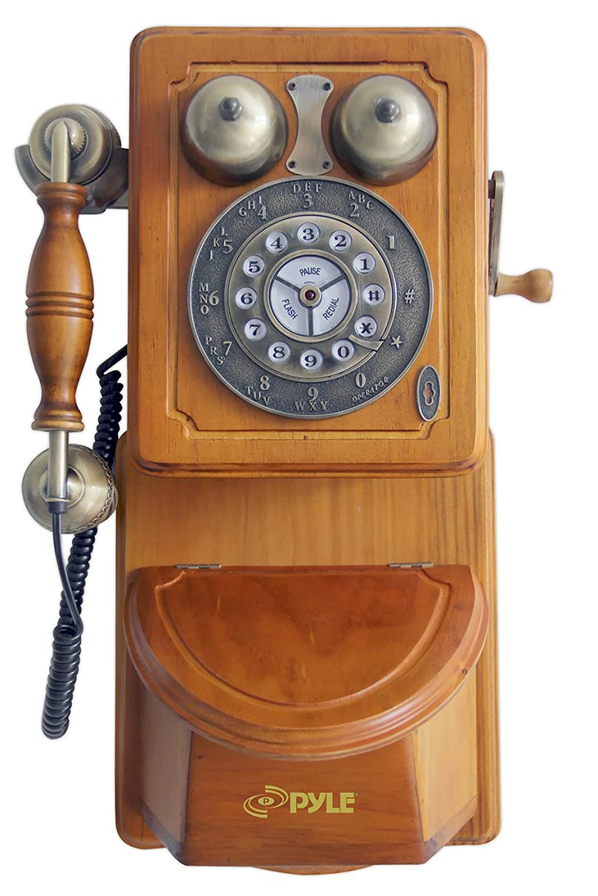 Pyle PRT45 Retro Antique Country Wall Phone - Retail Packaging - Wood 0