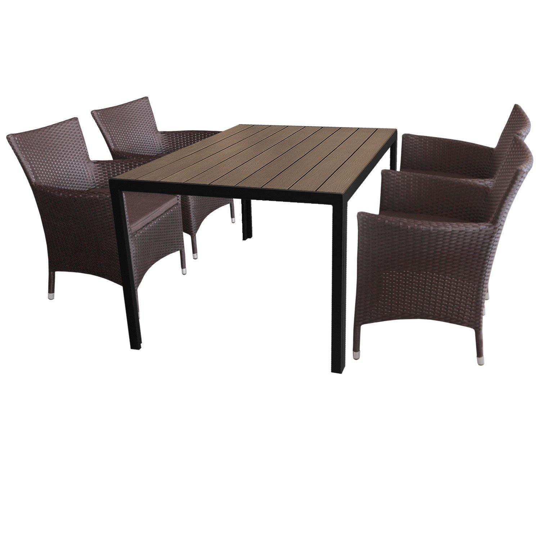 5tlg. Gartengarnitur Aluminium Gartentisch 150x90cm mit Polywood Tischplatte Polyrattan Gartensessel inkl. Sitzkissen Braun
