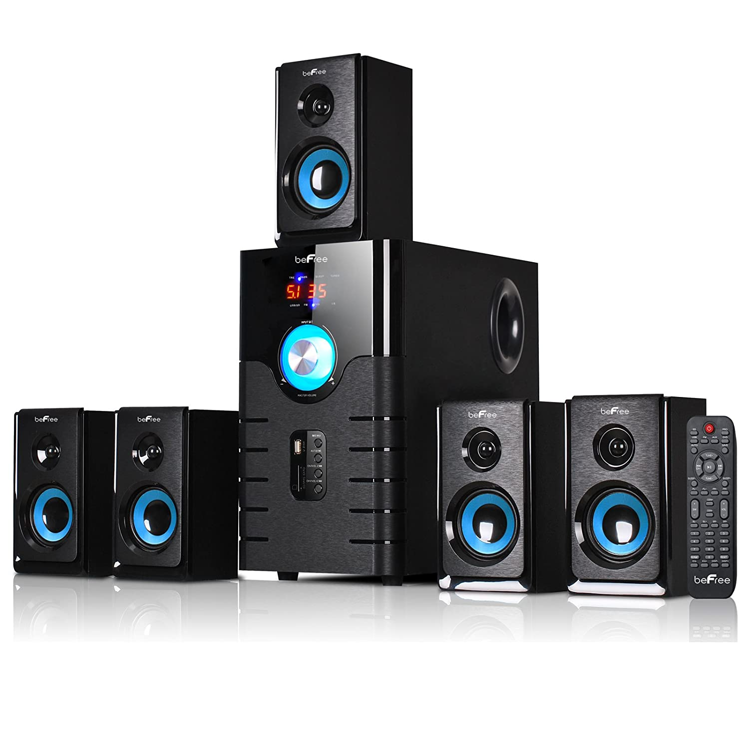 bluetooth 5 1ch home theater surround sound stereo speaker system usb mp3 player. Black Bedroom Furniture Sets. Home Design Ideas