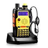 Two Way Radio 8 Watt 2800mAh Rechargeable Large Battery FCC Dual Band VHF 136-174MHz and UHF 400-520MHz Long Range Water Resistant 128 Channels Walkie Talkie with Earpiece Full Kit (Upgraded 2800mAh) (Color: Yellow)