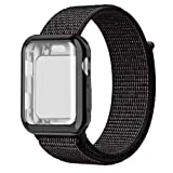 QIENGO Compatible with Apple Watch Band with Case 44MM, Soft Nylon Strap with Silicone Protective Case, Replacement for iWatch Sport Series 4 (Black Nike, 44mm) (Color: Black nike, Tamaño: 44MM)