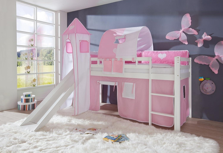 Relita Hochbett Toby Massivholz weiß, Rutsche, Turm, Stoff rosa/weiß rosa/weiß online bestellen